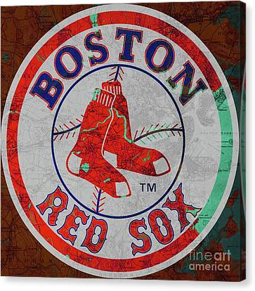 Boston Red Sox Logo On Old Boston Map Canvas Print by Pablo Franchi