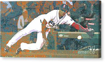 Boston Red Sox Player On Boston Harbor Map Canvas Print by Pablo Franchi