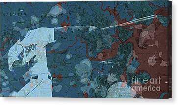 Boston Red Sox Player On Boston Harbor Map, Vintage Blue Canvas Print
