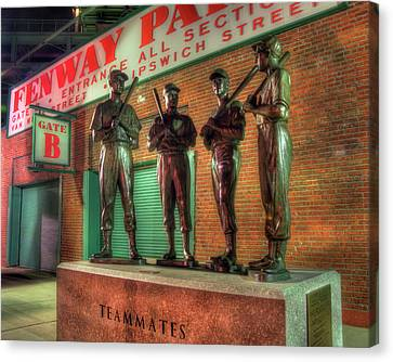 Boston Red Sox Teammates Statue - Fenway Park Canvas Print by Joann Vitali
