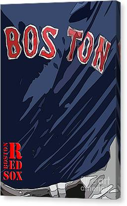 Boston Red Sox Typography Blue Canvas Print by Pablo Franchi