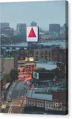 Boston Skyline Aerial Photo With Citgo Sign Canvas Print by Paul Velgos