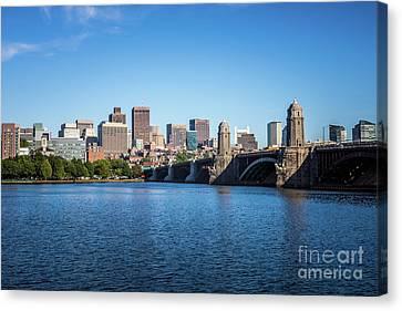 Boston Skyline And Longfellow Bridge Photo Canvas Print