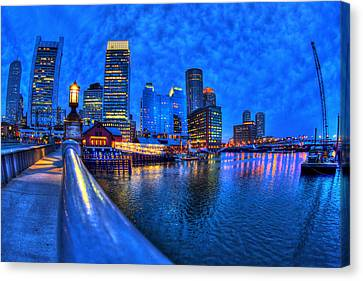 Boston Skyline At Night And Tea Party Museum In Fort Point Channel Canvas Print