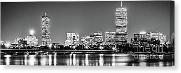 Boston Skyline At Night Black And White Panorama Picture Canvas Print by Paul Velgos