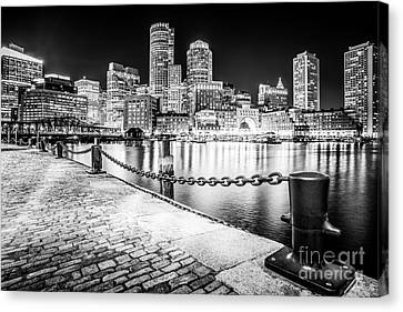 Boston Skyline At Night Black And White Picture Canvas Print