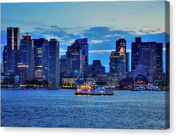 Canvas Print featuring the photograph Boston Skyline At Night - Boston Harbor by Joann Vitali