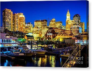 Boston Skyline At Night Canvas Print by Paul Velgos