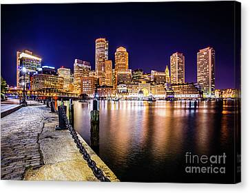Boston Skyline At Night Picture Canvas Print by Paul Velgos