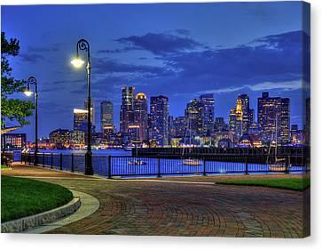 Boston Skyline At Night - Piers Park Canvas Print