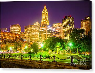 Custom House Tower Canvas Print - Boston Skyline At Night With Christopher Columbus Park by Paul Velgos