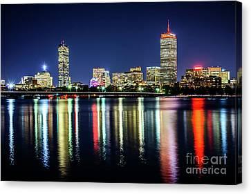 Charles River Canvas Print - Boston Skyline At Night With Harvard Bridge by Paul Velgos