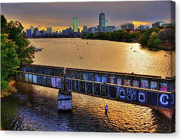 Boston Skyline At Sunrise Over The Charles River Canvas Print by Joann Vitali