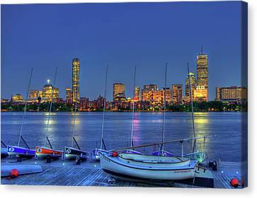 Boston Skyline At The Mit Sailing Pavilion Canvas Print