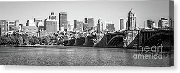 Boston Skyline Black And White Panorama Photo Canvas Print