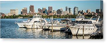 Charles River Canvas Print - Boston Skyline Charles River Boats Panorama Photo by Paul Velgos