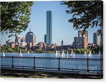 Charles River Canvas Print - Boston Skyline Charles River Sailboats Photo by Paul Velgos