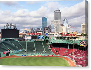 Boston Skyline From Fenway Park Canvas Print by Dawna  Moore Photography