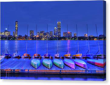 Boston Skyline From Mit Sailing Pavilion Canvas Print by Joann Vitali