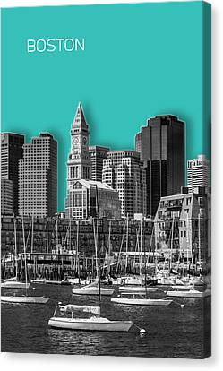 Custom House Tower Canvas Print - Boston Skyline - Graphic Art - Cyan by Melanie Viola