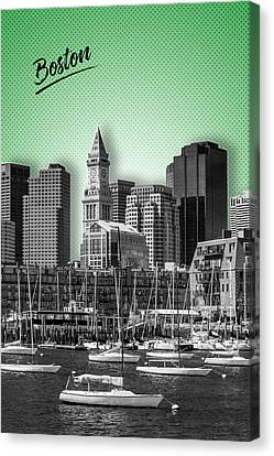 Custom House Tower Canvas Print - Boston Skyline - Graphic Art - Green by Melanie Viola