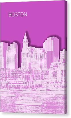 Custom House Tower Canvas Print - Boston Skyline - Graphic Art - Pink by Melanie Viola