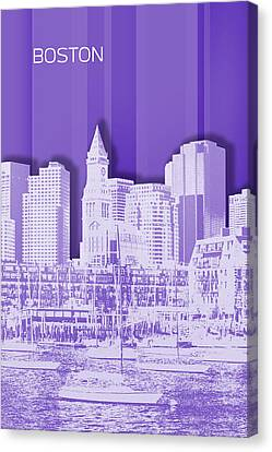 Custom House Tower Canvas Print - Boston Skyline - Graphic Art - Purple by Melanie Viola