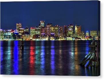 Boston Skyline Harborside At Night  Canvas Print