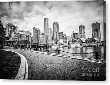 Boston Skyline Harborwalk Black And White Picture Canvas Print by Paul Velgos
