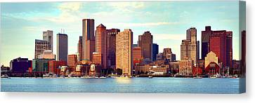 Boston Skyline In Early Morning Panorama Harbor  Canvas Print by Jon Holiday