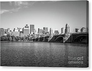 Boston Skyline Longfellow Bridge Black And White Photo Canvas Print