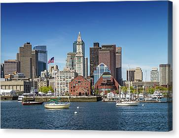 Custom House Tower Canvas Print - Boston Skyline North End And Financial District by Melanie Viola