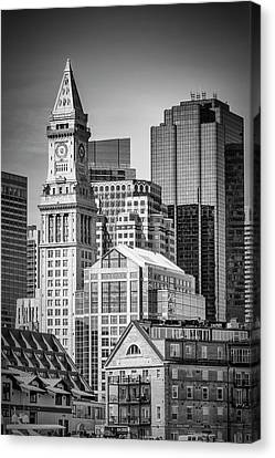 Custom House Tower Canvas Print - Boston Skyline North End And Financial District - Monochrom by Melanie Viola