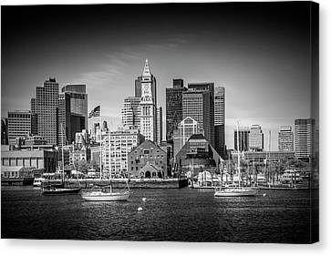 Custom House Tower Canvas Print - Boston Skyline North End - Monochrome by Melanie Viola