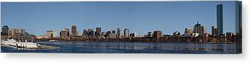Boston Skyline Panoramic In Winter Canvas Print by Panoramic Images