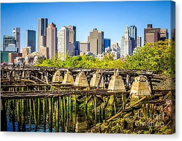 Boston Skyline Picture With Old Ruined Pier Canvas Print by Paul Velgos