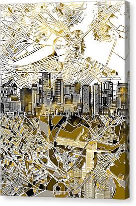 Modern Digital Art Digital Art Canvas Print - Boston Skyline Sepia by Bekim Art
