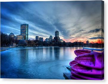 Charles River Canvas Print - Boston Skyline Sunset On A Frozen Charles River by Joann Vitali