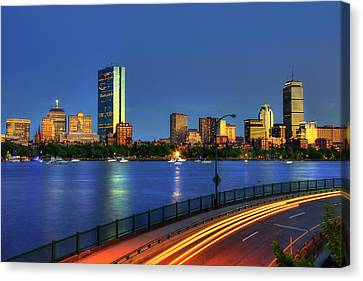 Canvas Print featuring the photograph Boston Skyline Sunset Over Back Bay And The Charles River by Joann Vitali