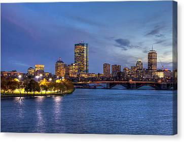 Charles River Canvas Print - Boston Skyline Twilight Over Back Bay by Joann Vitali