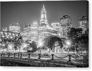 Custom House Tower Canvas Print - Boston Skyline With Christopher Columbus Park by Paul Velgos