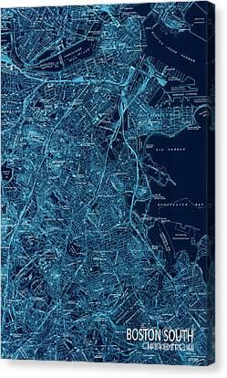 Boston South Map Year 1944 Canvas Print