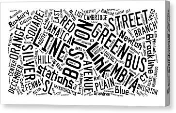 Boston Subway Or T Stops Word Cloud Canvas Print by Edward Fielding