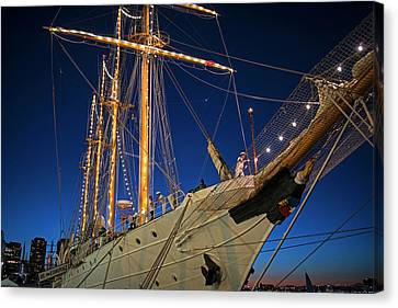 Boston Tall Ship Flags Boston Ma Sailors Blue Sky Canvas Print by Toby McGuire
