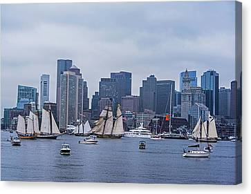 Boston Tall Ship Parade 2017 Ships In The Harbor Canvas Print by Toby McGuire