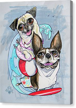 Canvas Print - Boston Terrier And Pug - Surf's Up by John LaFree