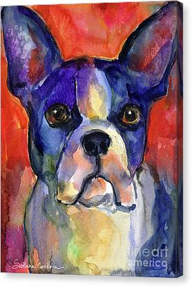 Boston Terrier Dog Painting  Canvas Print by Svetlana Novikova