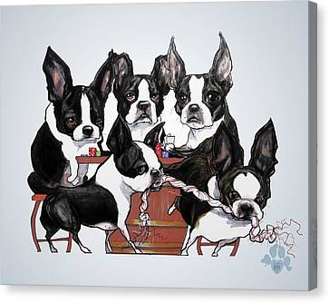 Caricature Canvas Print - Boston Terrier - Dogs Playing Poker by John LaFree