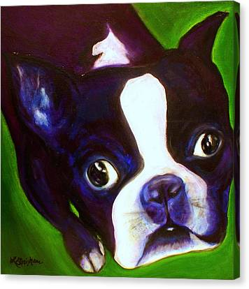 Canvas Print featuring the painting Boston Terrier - Elwood by Laura  Grisham
