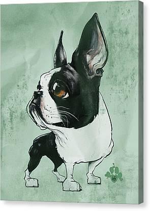 Caricature Canvas Print - Boston Terrier - Green  by John LaFree